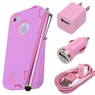 Pen+Pink Rugged Rubber Matte Hard Case Cover For iPhone 4G 4S w/ Screen Protect