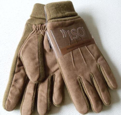 Isotoner Men Light Brown Brushed Microfiber Thinsulate Plantinum Gloves One Size