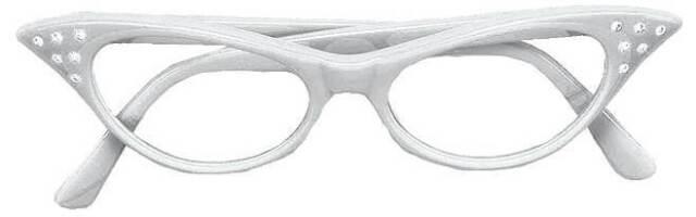 WHITE GLASSES, ROCKABILLY SPECS, FANCY DRESS ACCESSORY, GREASE, 1950s