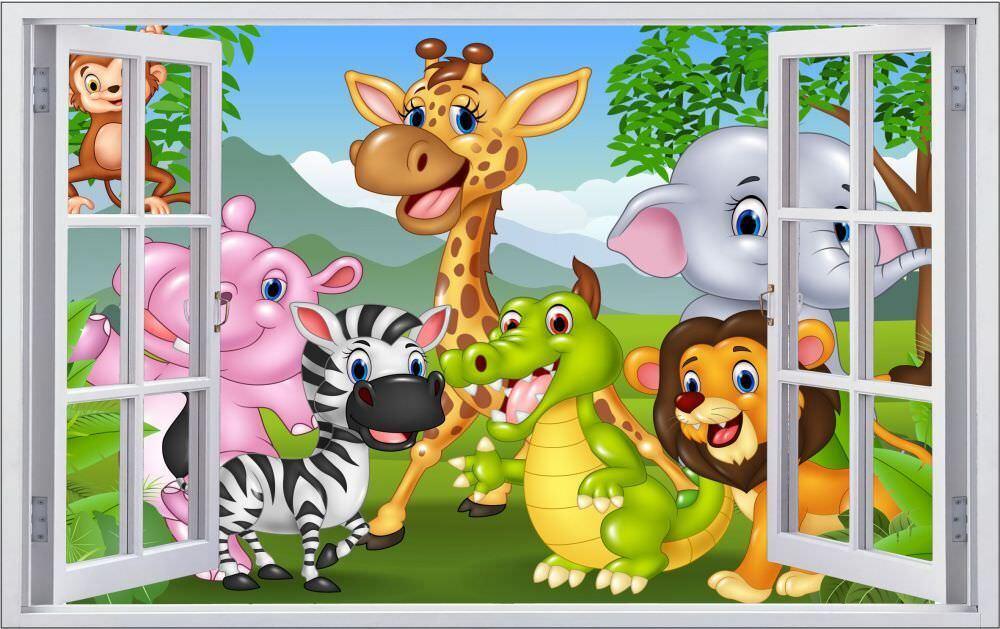 CARTOON Animali Bambini Muro Tatuaggio Parete Adesivo Parete Adesivo f1297