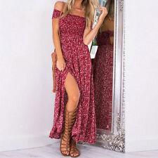 Damen Maxikleider Sommer Boho Blumen Lang Kleid Strandkleid Party Cocktail Dress