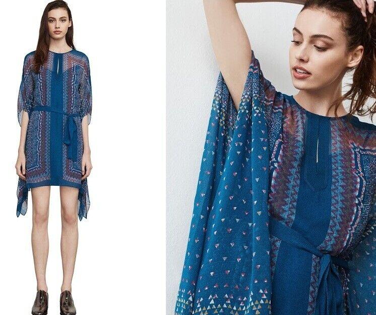 Neuf avec étiquettes BCBG MAX AZRIA 228   maroccal Blau inesa Tapisserie Robe imprimée Größe S Small
