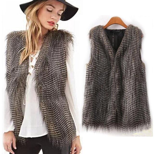Women Winter Vest Sleeveless Outerwear Coat Faux Fur Casual Waistcoat Jacket
