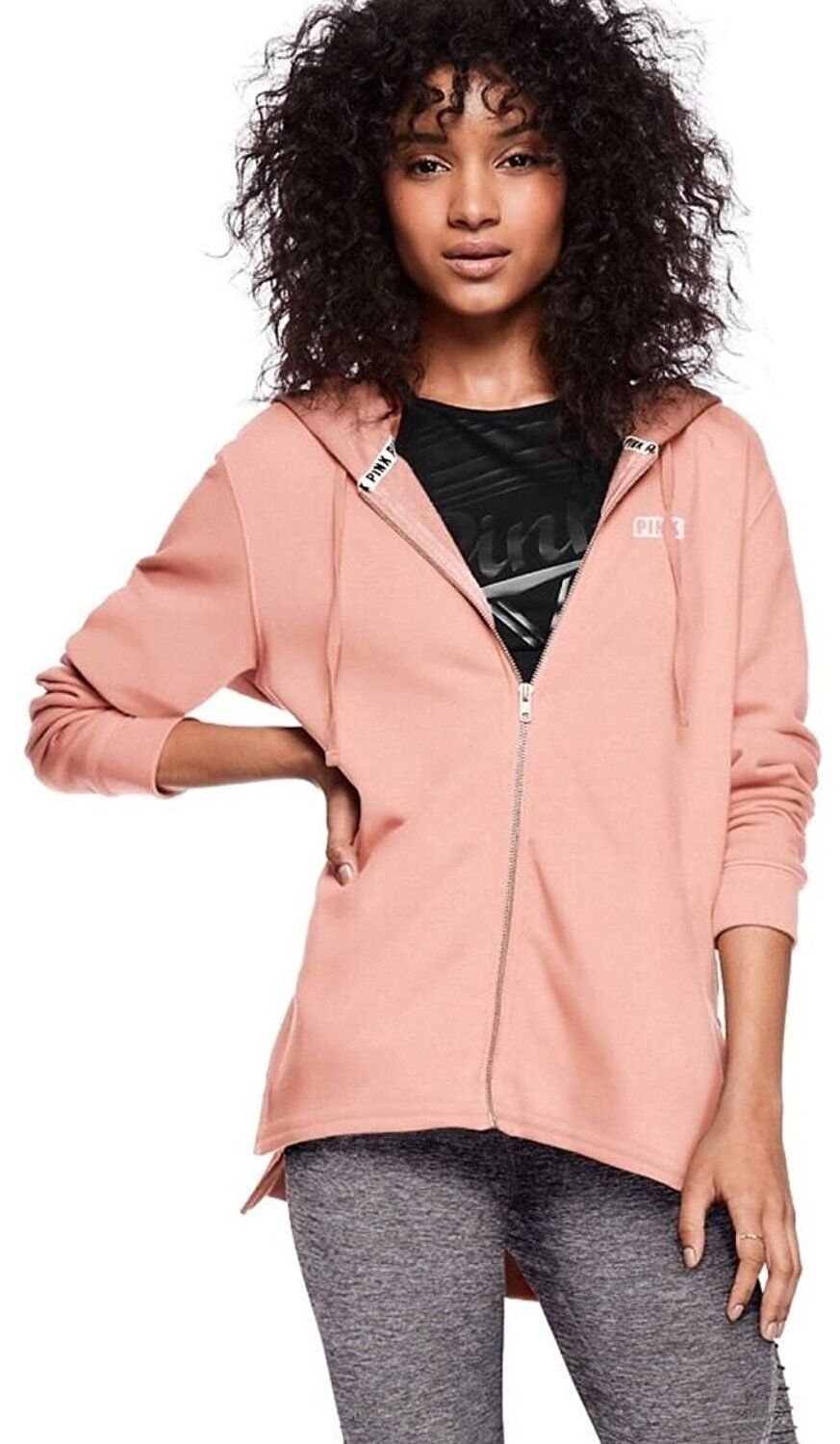 VICTORIA'S SECRET Pink NEW SIDE SLIT FULL-ZIP Hoodie color Ballet Pink Medium
