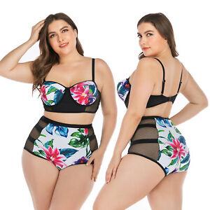 Plus Size Womens High Waist Bikini Set Swimwear Swimsuit Bathing Suit Beach Wear