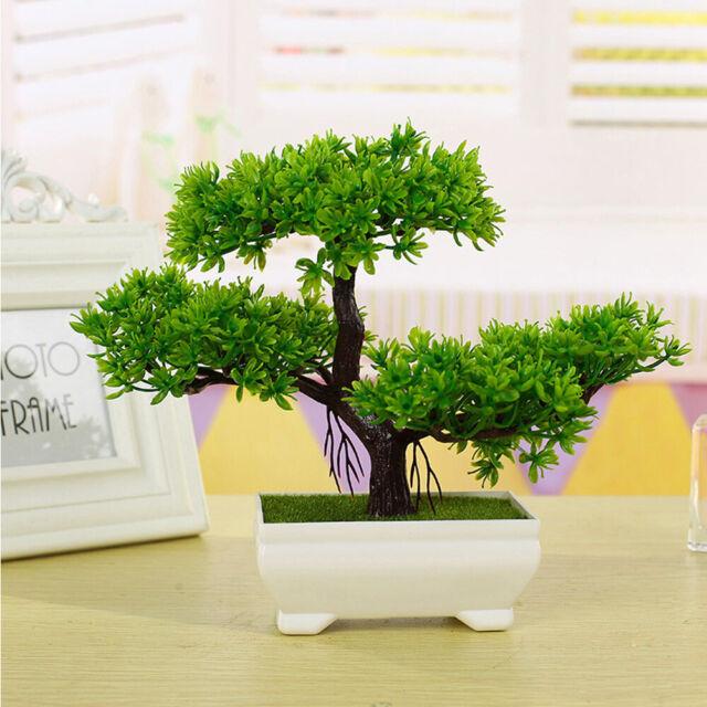 Artificial Fake Green Bonsai Plant Guest Greeting Pine Tree Wedding Office Decor