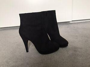 H\u0026M Platform Heeled Ankle Boot Black