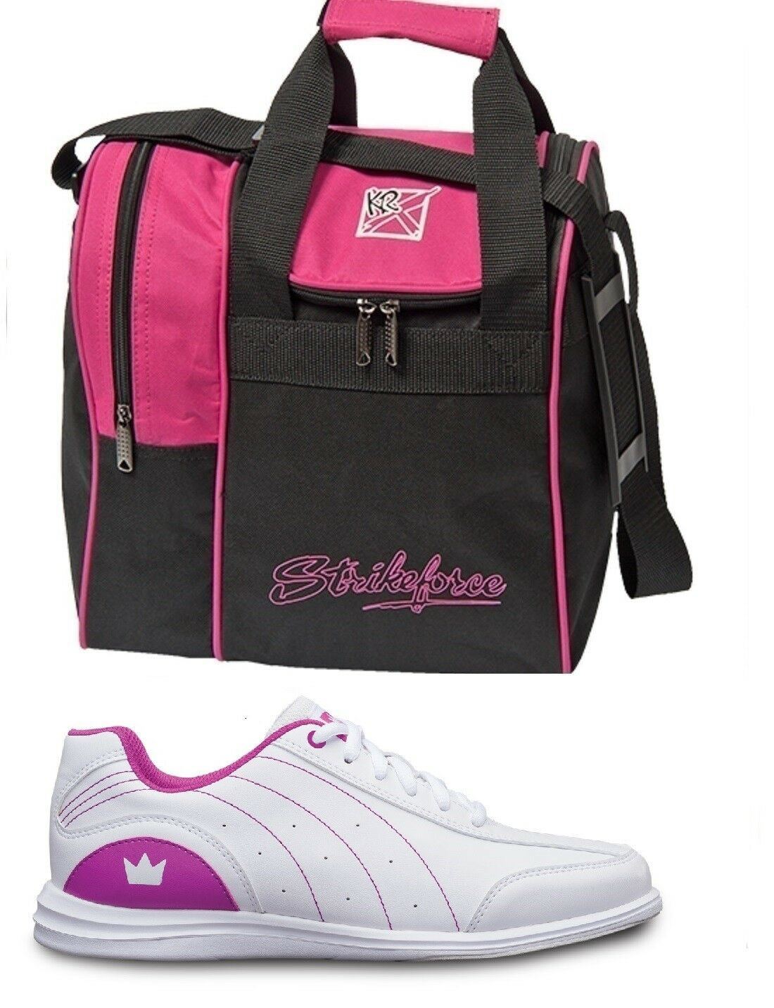 Girls MYSTIC Bowling Ball shoes White Fuchsia Sizes 1-6 & Pink 1 Ball Bag