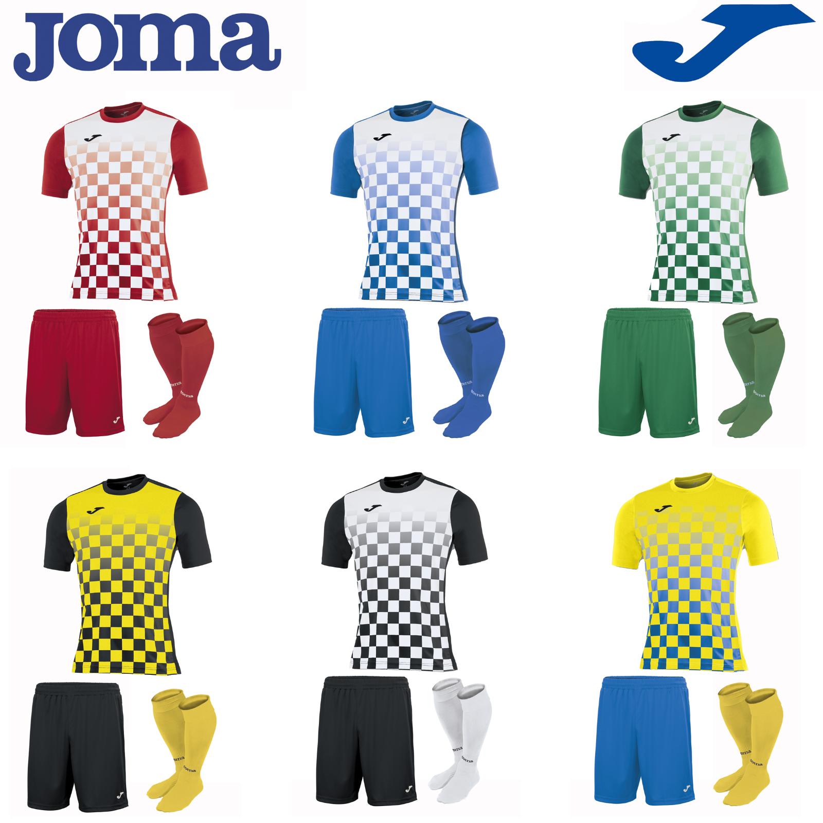 JOMA FOOTBALL FULL TEAM KIT SPORTS STRIP TRAINING SHIRTS MENS SOCKS FLAG