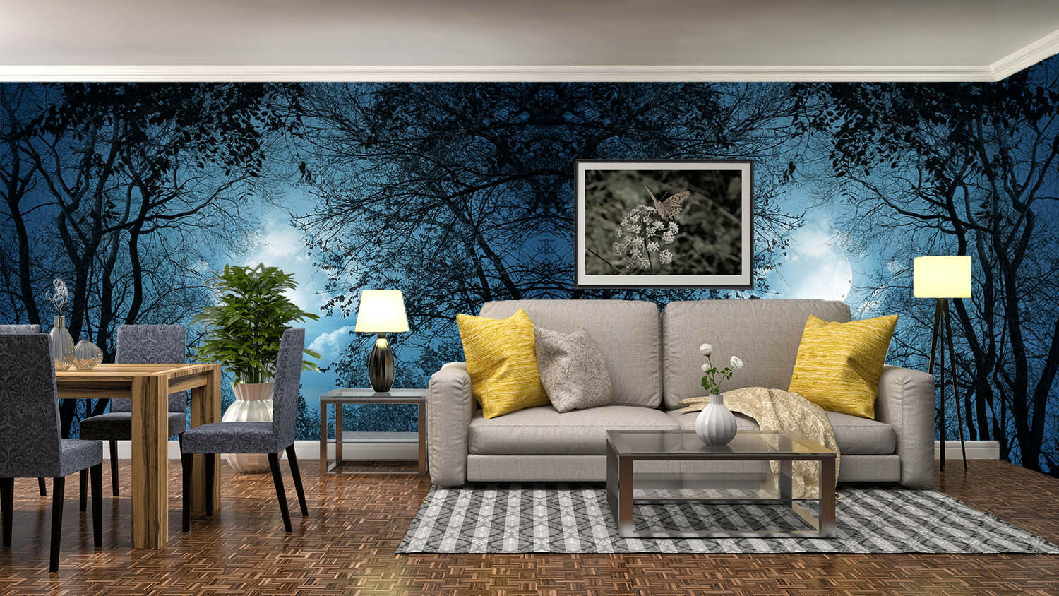 3d Night Moon Forest 77 wandpaper Mural wandpaper wandpaper Picture Family De Lemon