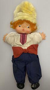 Vtg-Boy-Doll-Stuffed-Plush-12-Soft-Toy-Red-Hair-Hat-Freckles-Flat-Plastic-Face