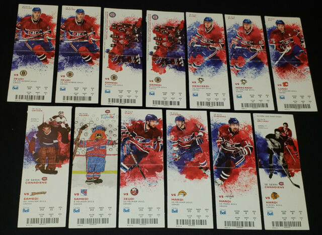2010-11 MONTREAL CANADIENS - NHL - PLAYERS PHOTO - COMPLETE UNUSED TICKETS (13)