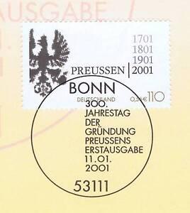 Rfa 2001: La Prusse De 300 Ans! Nº 2162 Avec Bonner Ersttags Cachet Spécial! 1 A! 1802-stempel! 1a! 1802afficher Le Titre D'origine