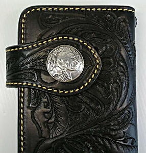 Black-Indian-Chief-Western-Tooled-Genuine-Leather-Mens-Long-Wallet-Biker-Cowboy