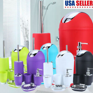 6Pcs Bath Bathroom Accessories Soap Dispenser Toothbrush Holder Toilet Brush Set