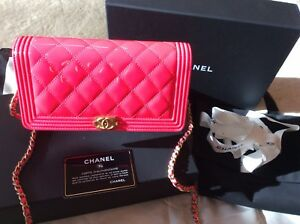 50572b0d9cd Chanel Crossbody Bag Neon Pink Patent Leather Limited Edition Brand ...