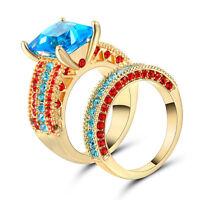 Size 7 Gold Rhodium Wedding Ring 2-in-1 Engagement Blue Gemstone Valentine