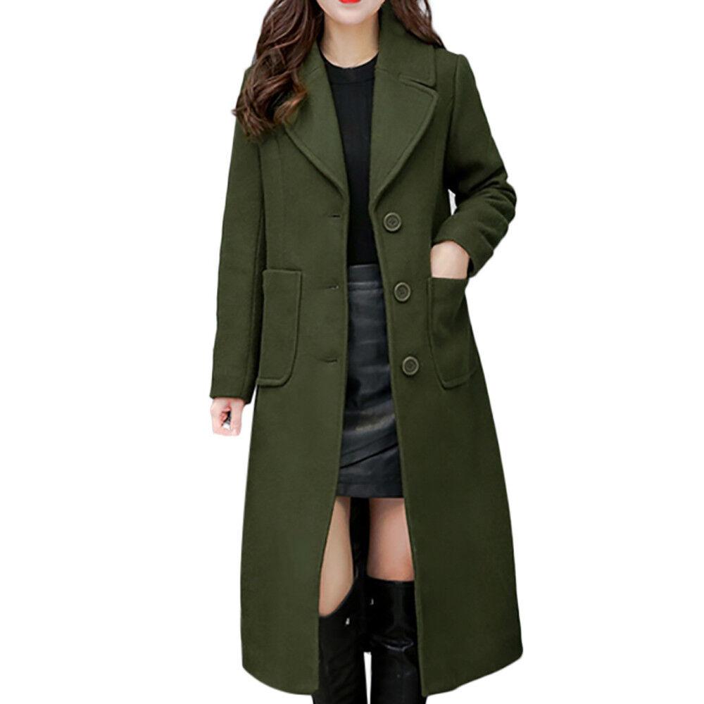 2018 Winter Long Wool Coat Women Button Solid Button Woman Solid  Long Coats