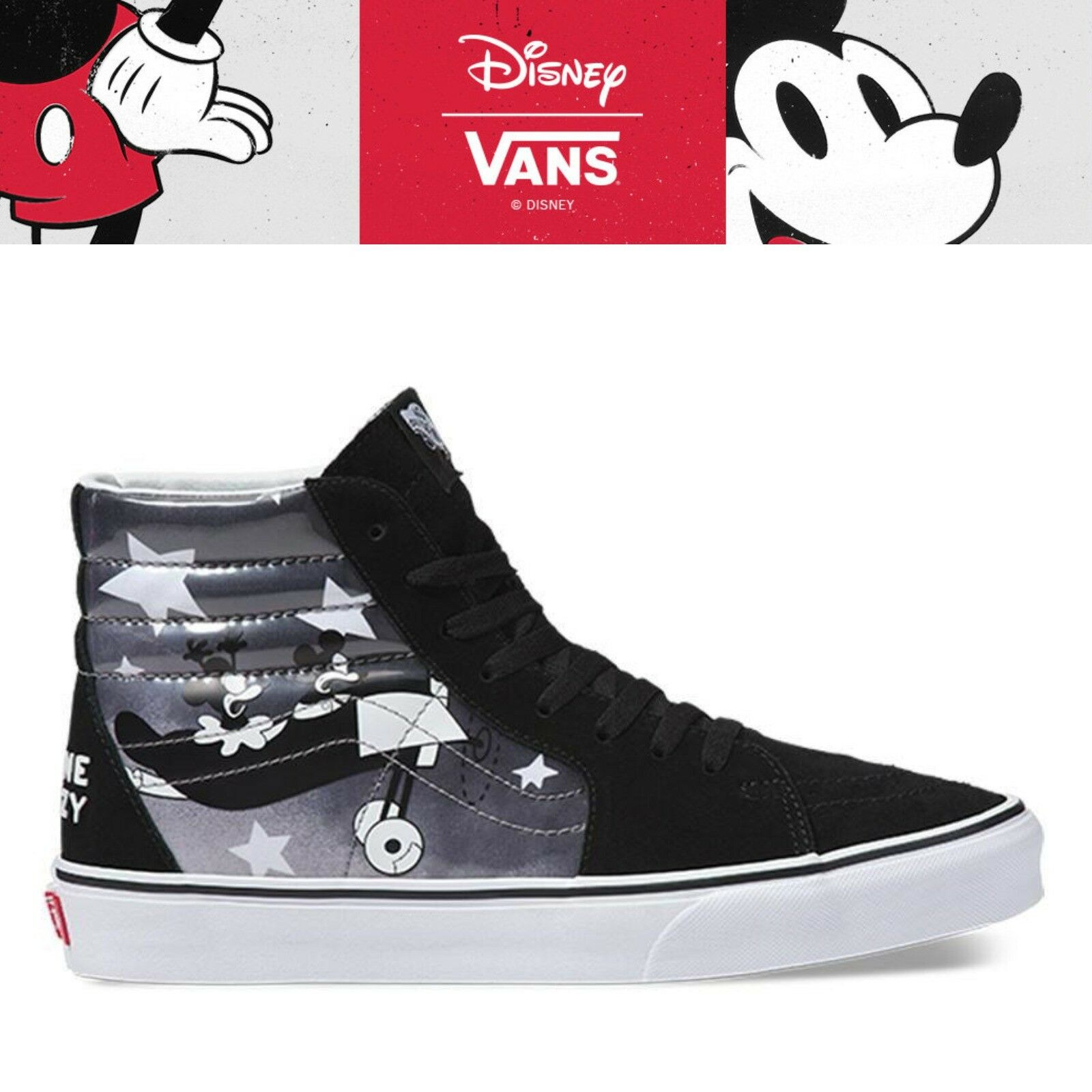 New VANS X DISNEY SK8-HI Mickey Mouse 90th Collection - PLANE CRAZY TRUE Weiß