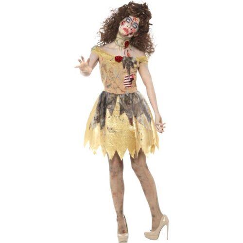 Women's Zombie Golden Fairy Tale Fancy Dress Costume Walking Dead Halloween Fun