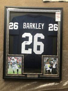 online store ba28a 1347f Details about Saquon Barkley Autograph Signed Penn State Blue Jersey Framed  JSA