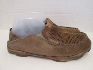 d02cf3cbf601d2 Olukai Moloa Kohana Brown Leather Slip On Loafers Driving Shoes ...