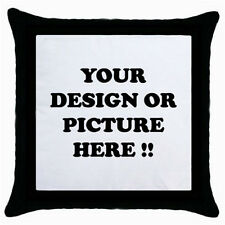 New PERSONALIZED Custom Logo, Design, Photo Throw PILLOW CASE (Black) One side