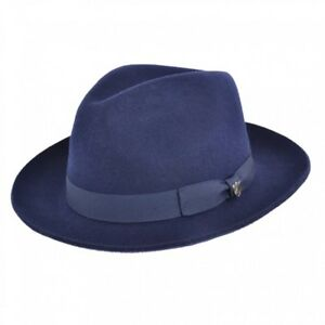 a2bc879a5d834 Image is loading Navy-Blue-Gladwin-Bond-Snap-Brim-Fedora-Hat-