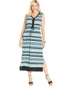 JONES NEW YORK PLUS SIZE STRIPED DRAWSTRING DRESS PACIFIC TURQUOISE ...