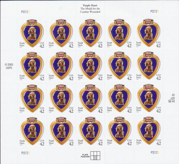 2008 42c Purple Heart, Special Issue, Sheet of 20 Scott