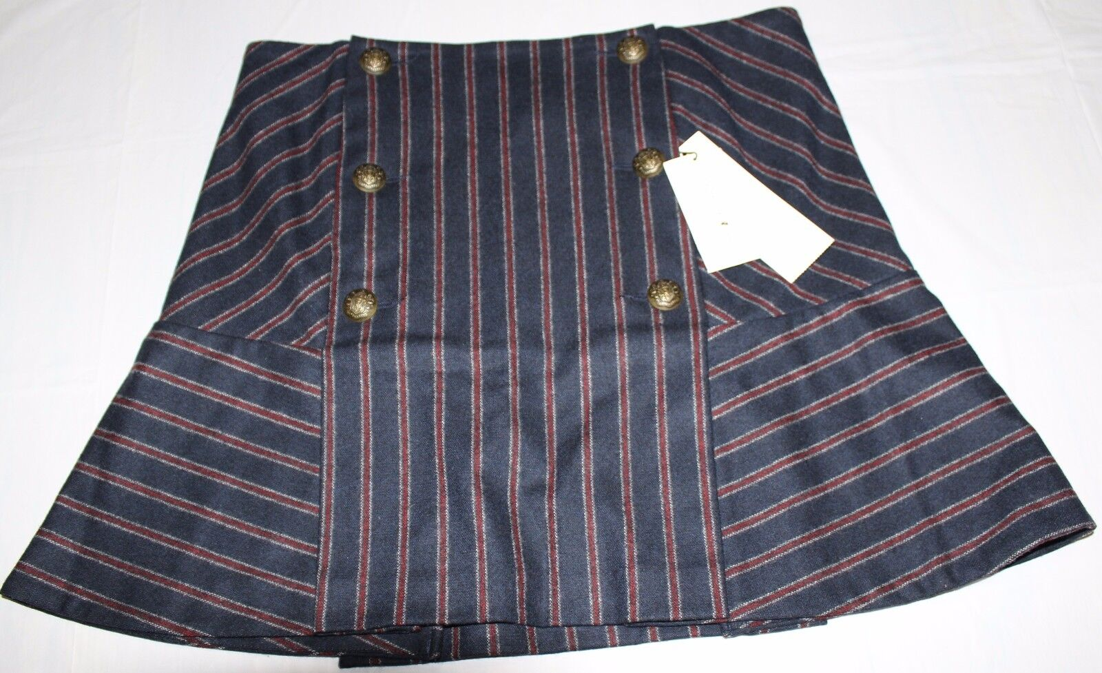 395 VERONICA BEARD NAVY RED FORGE BUTTON SKIRT US 8