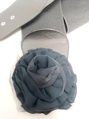Dazen Stylish Dark Gray Wide Waist Elastic Belt Big Flower Buckle W/Stone S M L