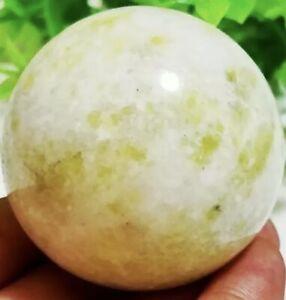 48mm Natural Green and white jade Magic Crystal Sphere Healing Ball