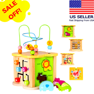 Wooden Activity Cube Baby Toys Kids Toddler Educational Learning Center Gift Ebay