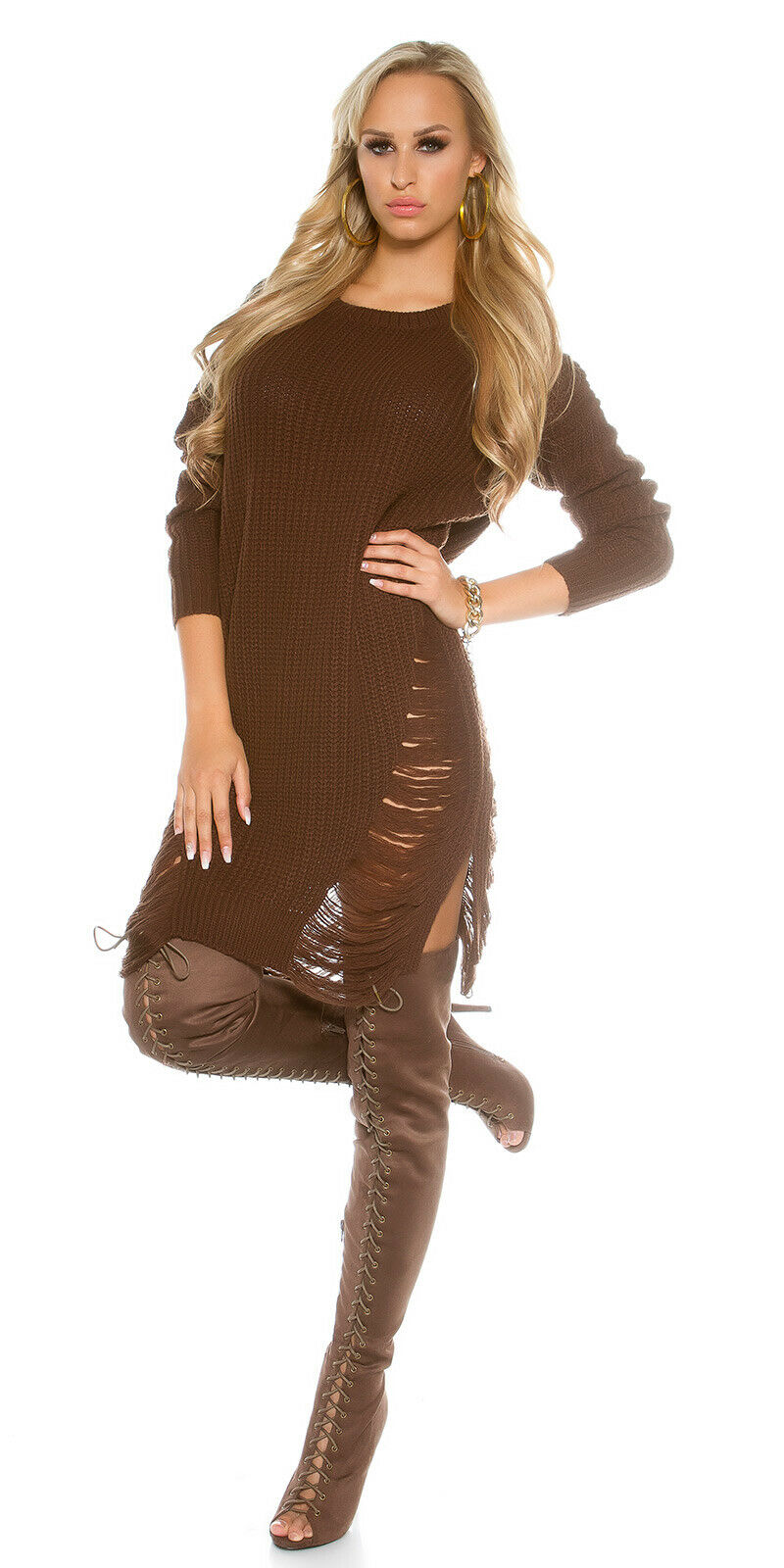 SEXY OVERSIZED BROWN KNIT SLASHED SWEATER ONE SIZE FITS FITS FITS MOST 74b460