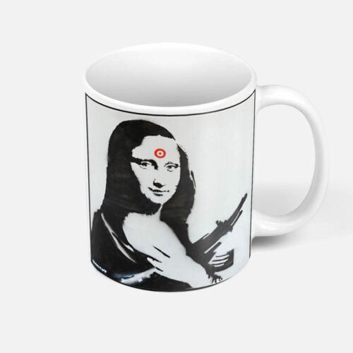 Mug Céramique Banksy La Joconde Mona Lisa Arme Cible Ak47 Street Art