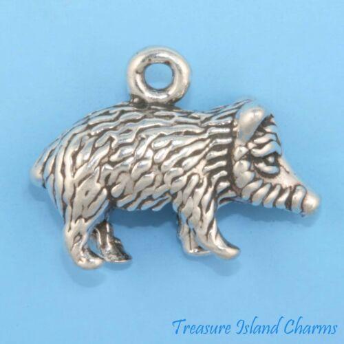 Javelina Pécari cochon sanglier porc Cochon 3D 925 Solid Sterling Silver Charm JAVALINA