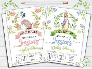 Image Is Loading 10 Personalised Peter Rabbit Baby Shower Invitations  Invites