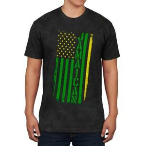 Jamaican American Distressed Flag Mens Soft T Shirt