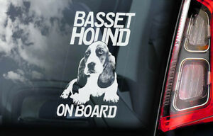 Basset-Hound-a-Bordo-Coche-Ventana-Pegatina-Hush-Cachorro-Perro-Signo-Regalo