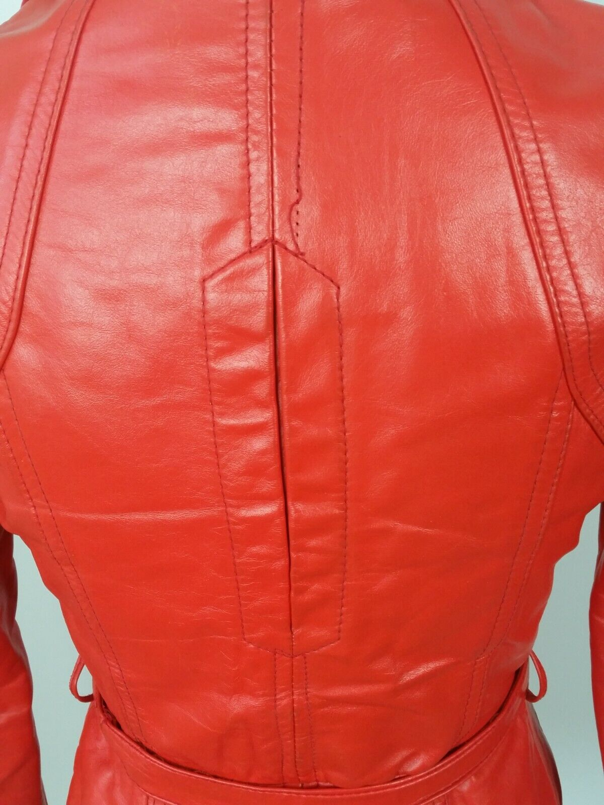 Vintage Orange Leather Womens Jacket Mod 1970s XS - image 6