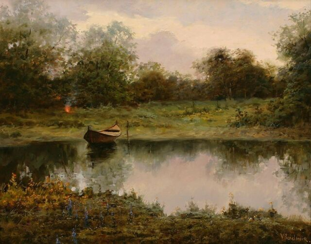 Canvas Print small river boats Oil painting Printed on canvas 16X20 inches P546