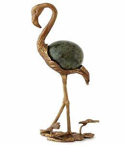"""Bronze Flamingo Figurine Bird Sculpture Serpentine Stone Egg Stand Holder 8.5"""""""