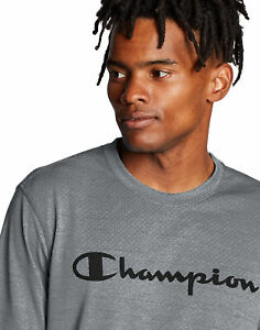 Champion-Script-Logo-T-Shirt-Men-039-s-Tee-Double-Dry-Heather-Mesh-Textured-Short