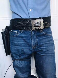 Vintage Old West Black Tooled Leather Gun Belt Holster Sterling Silver Buckle