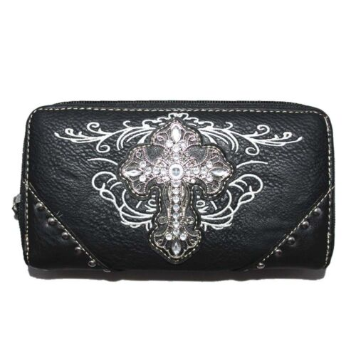 Premium Rhinestone Cross Women/'s Wallet with Extra Hand Wrist in 5 Colors