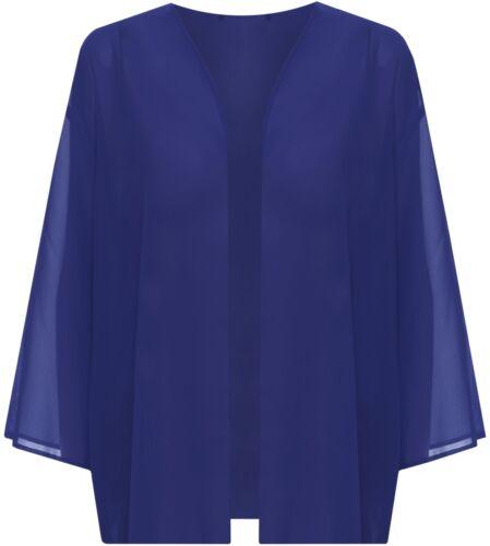 Dimensione Donna Da Donna Plain 3//4 manica Ladies Open Kimono Cardigan Top 12-22
