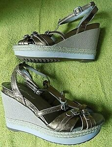 Detalles Cuero De Plataforma Ver Para Softwear Cuñazapatos Sandalias 6 Título Clarks Oro Original Unido Mujer Reino Con Tiras LGSUpqVzM