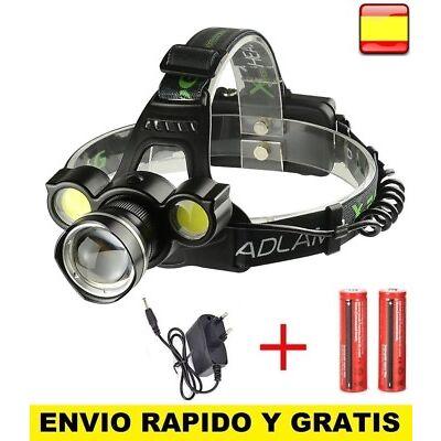 Linterna Frontal Recargable de cabeza luz LED 8000LM T6 2X COB ZOOM Impermeable