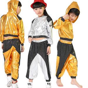 Girls Boys Modern Jazz Dance Outfits Kids Performance Hip Hop Dance Costumes